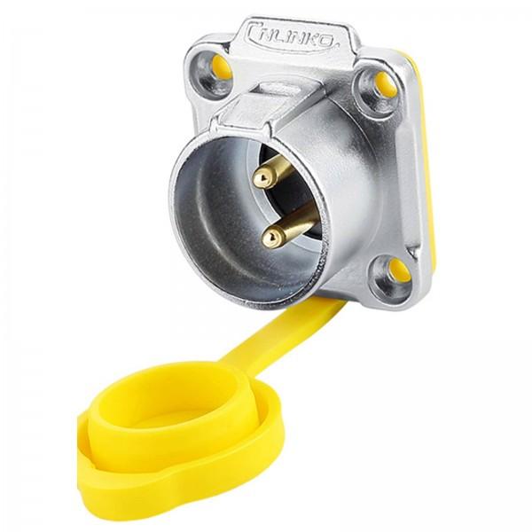 LP-20 Power Einbaustecker M20 2-polige Männchen umgekehrt quadratisch 500 V 20 A IPX8 gelbe Kappe