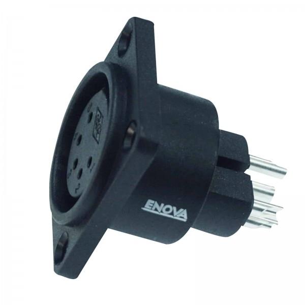 XLR Einbaubuchse Weibchen 5-polig IP67 schwarzes Kunststoffgehäuse Lötanschluss