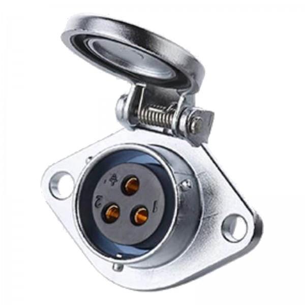 YA-20 Power Stecker M20 3 pol female socket square with automatic cap 500 V 20 A