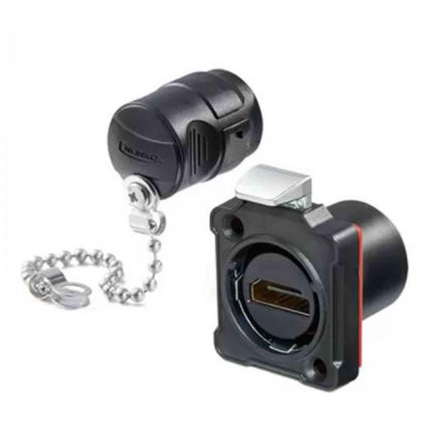 BD-24 HDMI Einbaubuchse, Kunststoffgehäuse, mit Schutzdeckel und Montagematerial IP65